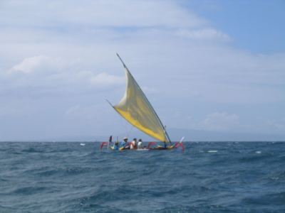 Jukong sailing along Bali beach